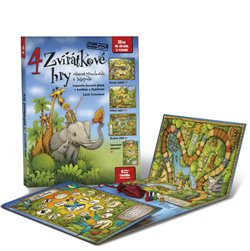 4 zvířátkové hry. Leporelo her s kostkou a figurkami pro zábavné učení zvířátek a logopedie pro děti od 3 let - Lucie Ernestová