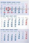 Obálka knihy Nástěnný kalendář 3 měsíční standard modrý – s českými jmény 2019