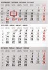 Obálka knihy Nástěnný kalendář 3 měsíční standard šedý – s českými jmény 2019