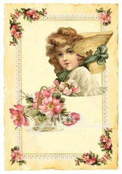 Obálka titulu Pohlednice - Růžové květy a holčička, klobouk