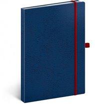 Notes - Vivella Classic modrý/červený, linkovaný, 15 x 21 cm