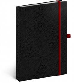 Obálka titulu Notes - Vivella Classic černý/červený, linkovaný, 15 x 21 cm