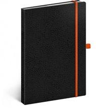 Notes - Vivella Classic černý/oranžový, linkovaný, 15 x 21 cm