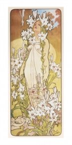 Pohled Alfons Mucha – Lily, dlouhý