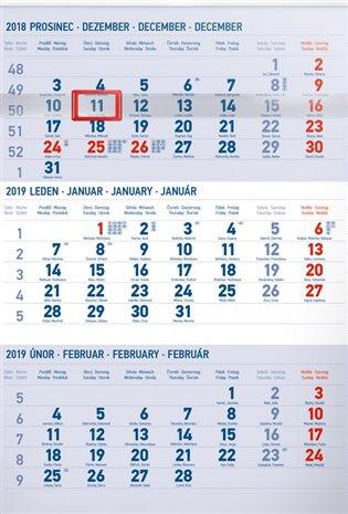 Nástěnný kalendář 3 měsíční standard modrý – s českými jmény 2019 - - | Booksquad.ink