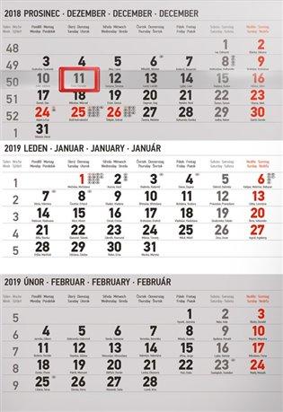 Nástěnný kalendář 3 měsíční standard šedý – s českými jmény 2019 - - | Booksquad.ink
