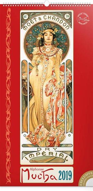 Nástěnný kalendář Alfons Mucha 2019, 33 x 64 cm - - | Booksquad.ink
