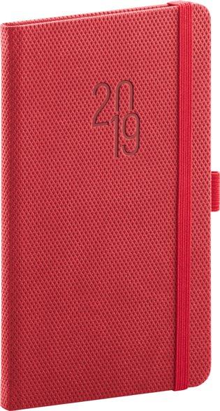 Kapesní diář Diamante 2019, červený:9 x 15,5 cm - -   Booksquad.ink
