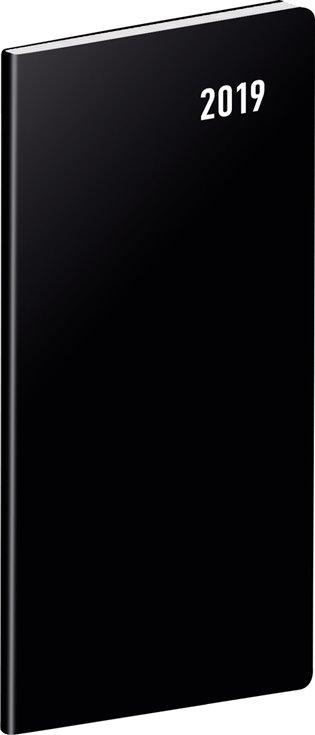 Kapesní diář Černý 2019, plánovací měsíční:8 x 18 cm - - | Booksquad.ink