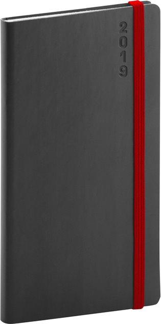 Kapesní diář Soft 2019, černý:9 x 15,5 cm - -   Booksquad.ink