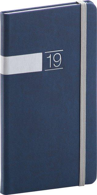 Kapesní diář Twill 2019, modrý:9 x 15,5 cm - -   Booksquad.ink