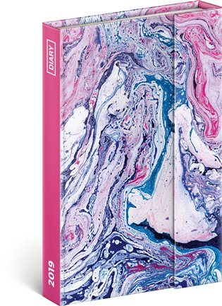 Týdenní magnetický diář Marble 2019:10,5 x 15,8 cm - - | Booksquad.ink