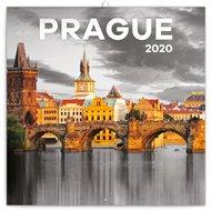 Poznámkový kalendář Praha 2020 černobílá
