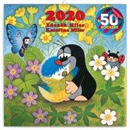 Poznámkový kalendář Krteček 2020, s 50 samolepkami, 30 × 30 cm