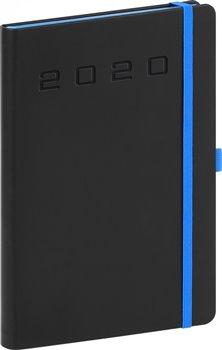Denní diář Nox 2020, černý-modrý 15 × 21 cm