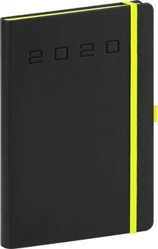 Denní diář Nox 2020, černý-zelený 15 × 21 cm