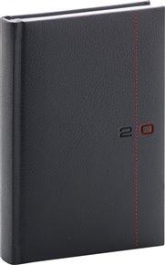 Denní diář Tailor 2020, černočervený, 15 × 21 cm