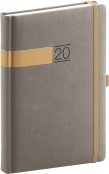 Denní diář Twill 2020, šedozlatý 15 × 21 cm
