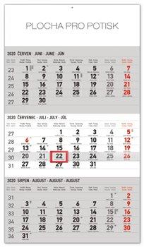 Nástěnný kalendář 3měsíční standard šedý – s českými jmény 2020, 29,5 × 43 cm
