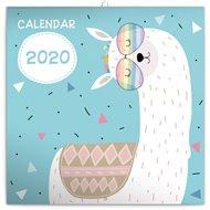 Poznámkový kalendář Šťastné lamy 2020, 30 × 30 cm