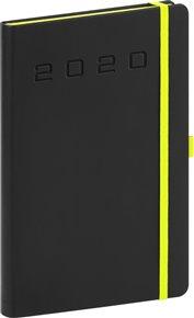 Týdenní diář Nox 2020, černý-zelený 15 × 21 cm