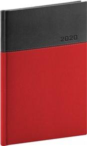Týdenní diář Dado 2020, červenočerný, 15 × 21 cm