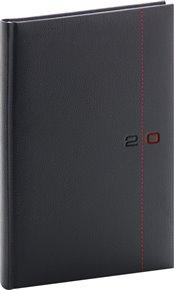 Týdenní diář Tailor 2020, černočervený, 15 × 21 cm