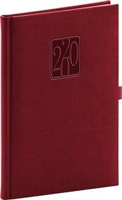 Týdenní diář Vivella Classic 2020, vínový, 15 × 21 cm