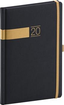 Obálka titulu Týdenní diář Twill 2020, černozlatý 15 × 21 cm