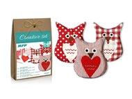 Kreativní set - sova červená 3ks, papír. krabička
