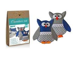 Obálka titulu Kreativní set - sova modrá 2ks, papír.krabička