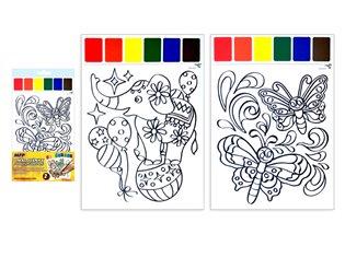 Omalovánky s vodovkami slon a motýlci 2ks - - | Booksquad.ink