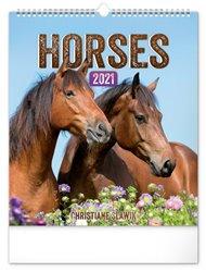 Nástěnný kalendář Koně 2021, 30 × 34 cm