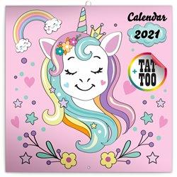 Obálka titulu Poznámkový kalendář Šťastní jednorožci 2021, 30 × 30 cm