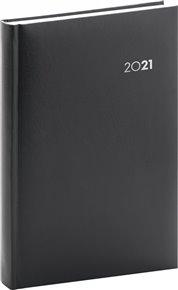 Denní diář Balacron 2021, černý, 15 × 21 cm