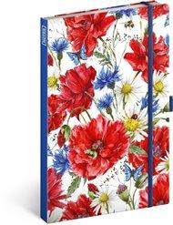 Notes Květiny, linkovaný, 13 × 21 cm