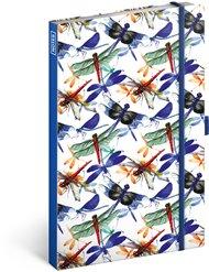 Notes Vážky, linkovaný, 13 × 21 cm