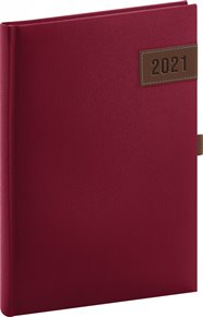 Denní diář Tarbes 2021, červený, 15 × 21 cm