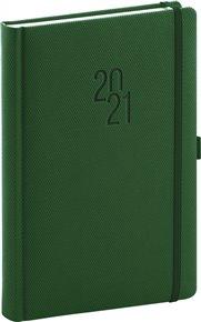 Denní diář Diamante 2021, zelený, 15 × 21 cm