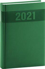 Denní diář Aprint 2021, zelený, 15 × 21 cm