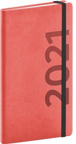 Kapesní diář Avilla 2021, oranžovočerný 9 × 15,5 cm