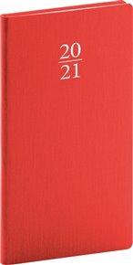 Kapesní diář Capys 2021, červený, 9 × 15,5 cm