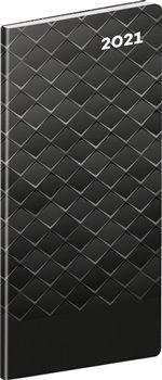 Obálka titulu Kapesní diář Černý kov 2021, plánovací měsíční, 8 × 18 cm