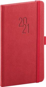 Kapesní diář Diamante 2021, červený, 9 × 15,5 cm