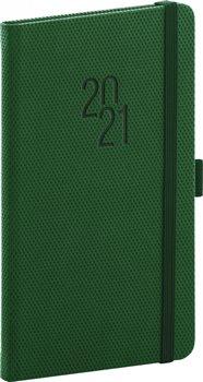 Kapesní diář Diamante 2021, zelený, 9 × 15,5 cm