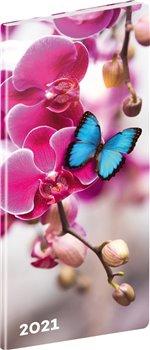 Obálka titulu Kapesní diář Motýli 2021, plánovací měsíční, 8 × 18 cm