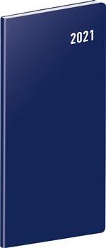 Obálka titulu Kapesní diář Modrý 2021, plánovací měsíční, 8 × 18 cm