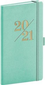 Kapesní diář Vivella Fun 2021, tyrkysový, 9 × 15,5 cm