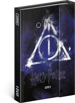 Obálka titulu Týdenní magnetický diář Harry Potter – Deathly Hallows 2021, 11 × 16 cm