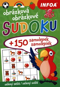Obálka titulu Obrázková/obrázkové sudoku + 150 samolepek/150 samolepiek – zelený sešit/zelený zošit